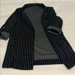 Black Pinstripe Blazer with Pockets (XS)